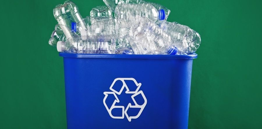 recycling bin with plastic bottles