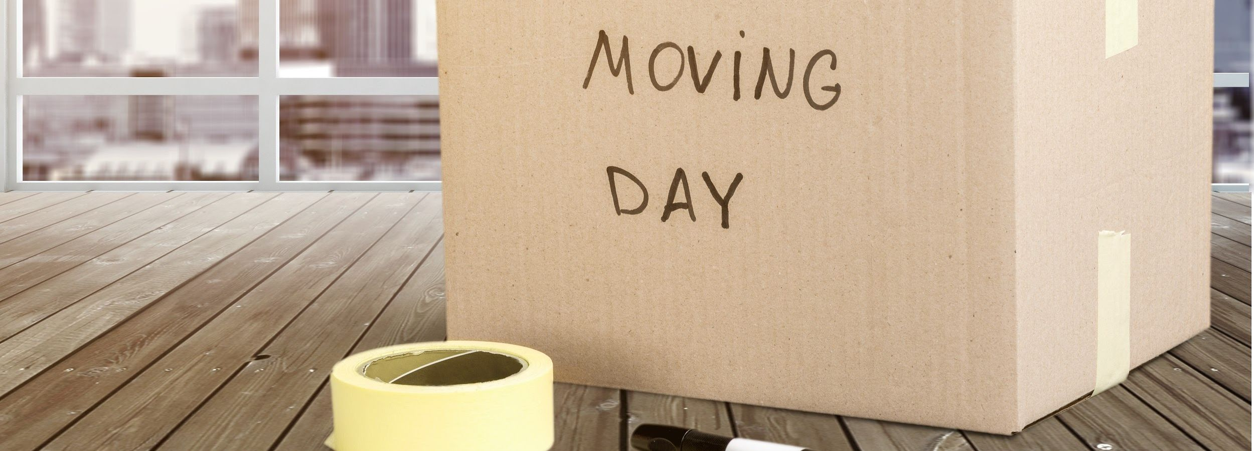 Box that says moving day