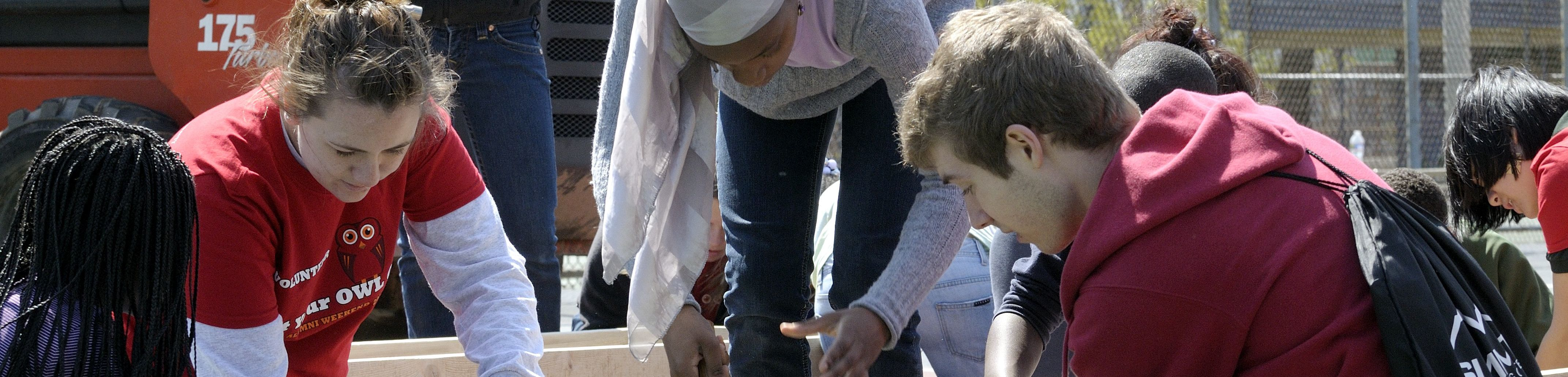 Students participating in community service